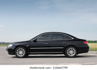 Kiev, Ukraine - August 6, 2018: Hyundai Grandeur on the road. View of the car from the side