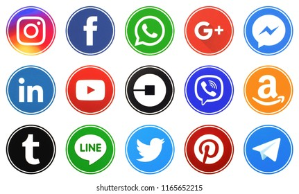KIEV, UKRAINE -August 9, 2018: This is a photo collection of popular social media logos printed on paper: Facebook, Twitter, LinkedIn, Pinterest, Instagram, Youtube, Line and other
