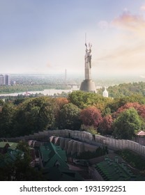 Kiev, Ukraine - August 9, 2019: Aerial view of Kyiv city and Dnieper River with the Motherland Monument at sunset - Kiev, Ukraine