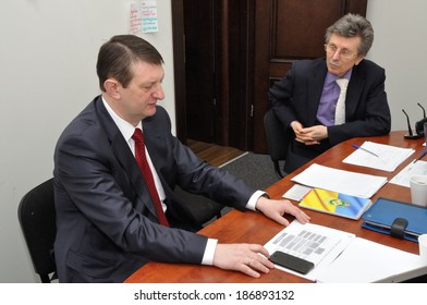 KIEV, UKRAINE -Â?Â? CIRCA MARCH 2014: Unknown participant of ministerial work group in the Ministry of health discuss ways of Ukrainian medical system reformation on March 2014 in Kiev, Ukraine.