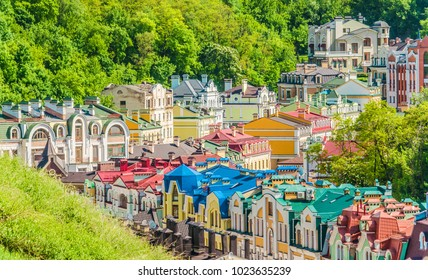 Kiev. Ukraine. Colored Kiev houses.