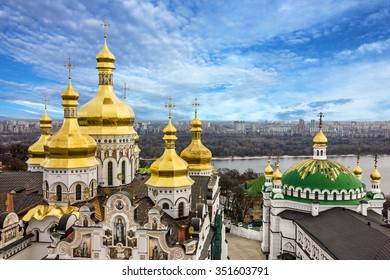Kiev, Ukraine. Cupolas of Pechersk Lavra Monastery and river Dniepr panoramic city view