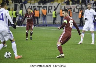 KIEV, UKRAINE - DEC 06: Oguzhan Ozyakup during the UEFA Champions League match between Dynamo Kiev vs Besiktas (Istanbul, Turkey), Kiev, Ukraine
