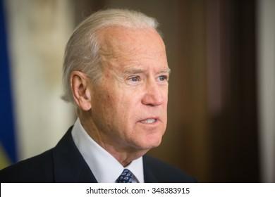 KIEV, UKRAINE - Dec 07, 2015: Vice president of USA Joe Biden during an official visit to Kiev, Ukraine