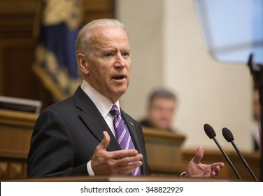KIEV, UKRAINE - Dec 08, 2015: Vice president of USA Joseph Biden during his speech in the Verkhovna Rada of Ukraine, Kiev