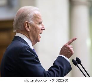 KIEV, UKRAINE - Dec 08, 2015: Vice president of USA Joseph Biden during his speech in the Verkhovna Rada of Ukraine, Kiev