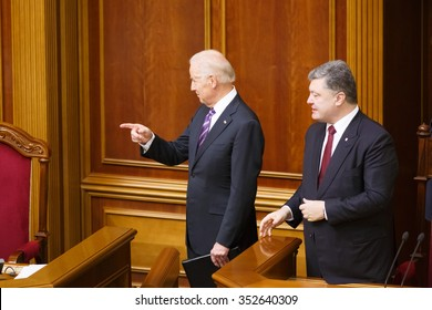 KIEV, UKRAINE - Dec 08, 2015: Vice president of USA Joseph Biden during his speech in the Ukrainian Parliament (Verkhovna Rada). Biden, Poroshenko
