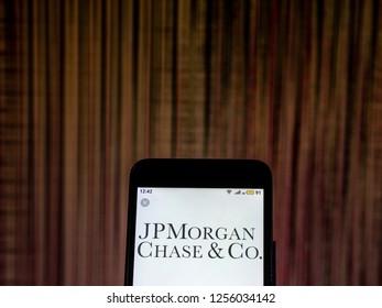 KIEV, UKRAINE - Dec 10, 2018:   JPMorgan Chase Investment banking company logo seen displayed on smart phone.