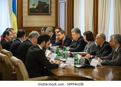 KIEV, UKRAINE - Dec 11, 2015: President of Ukraine Petro Poroshenko and the president of the Republic of Cyprus Nicos Anastasiades, during a meeting in Kiev