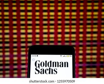 KIEV, UKRAINE - Dec 11, 2018: Goldman Sachs Investment banking company  logo seen displayed on smart phone.