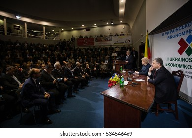 KIEV, UKRAINE - DEC 12, 2016: President of Ukraine Petro Poroshenko and President of Lithuania Dalia Grybauskaite participated in the second Ukrainian-Lithuanian economic forum in Kiev