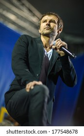 KIEV, UKRAINE - DEC 14, 2013: Svyatoslav Vakarchuk and group Okean Elzy on Independence Square, almost a million people.