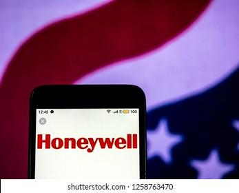 KIEV, UKRAINE - Dec 14, 2018: Honeywell Multinational conglomerate company  logo seen displayed on smart phone.