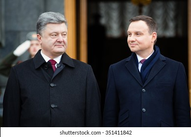 KIEV, UKRAINE - Dec 15, 2015: President of Ukraine Petro Poroshenko and President of the Republic of Poland Andrzej Duda during an official meeting in Kiev