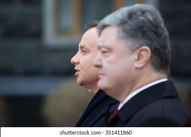 KIEV, UKRAINE - Dec 15, 2015: President of Ukraine Petro Poroshenko and President of the Republic of Poland Andrzej Duda during an official meeting in Kiev