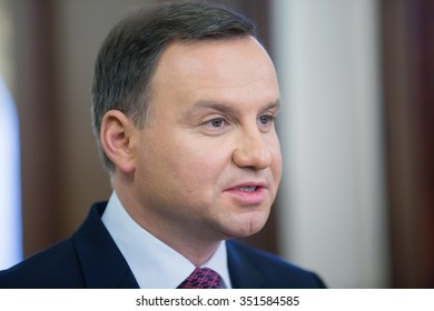 KIEV, UKRAINE - Dec 15, 2015: President of the Republic of Poland Andrzej Duda during his official visit to Ukraine