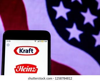 KIEV, UKRAINE - Dec 15, 2018:  Kraft Heinz Company  logo seen displayed on smart phone.