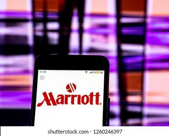 KIEV, UKRAINE - Dec 16, 2018: Marriott International Hospitality company logo seen displayed on smart phone.