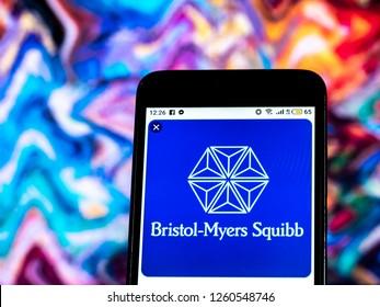 KIEV, UKRAINE - Dec 17, 2018: Bristol-Myers Squibb Pharmaceutical company logo seen displayed on smart phone