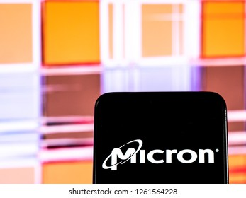 KIEV, UKRAINE - Dec 18,, 2018: Micron Technology Corporation logo seen displayed on smart phone