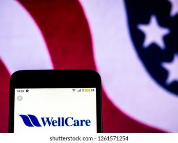 KIEV, UKRAINE - Dec 18,, 2018: WellCare Health care company logo seen displayed on smart phone