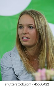 KIEV, UKRAINE - DEC 21: Tennis player Caroline Wozniacki at a press conference devoted to charitable tennis tournament, December 21, 2009 in Kiev, Ukraine.