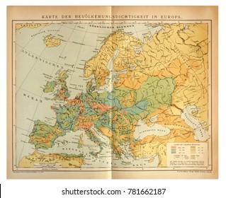 Kiev, Ukraine â?? Dec. 26, 2017: ILLUSTRATIVE EDITORIAL Image of old map that depicts population of Europe. Circa 1897