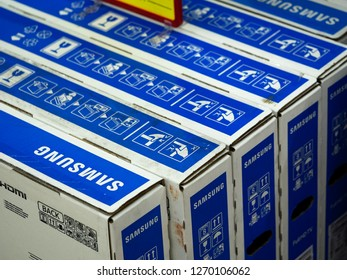 KIEV, UKRAINE - Dec 28,, 2018: Boxes with Samsung television in the store