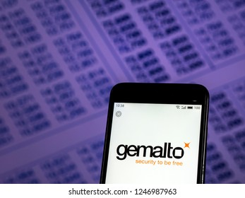 KIEV, UKRAINE - Dec 3, 2018: Gemalto Software company logo seen displayed on smart phone.