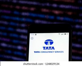 KIEV, UKRAINE - Dec 3,  2018: Tata Consultancy Services Information technology consulting company logo seen displayed on smart phone.
