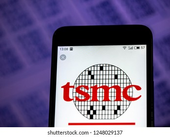 KIEV, UKRAINE - Dec 3,  2018: TSMC Semiconductor manufacturing company logo seen displayed on smart phone.