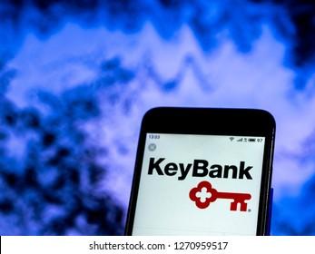 KIEV, UKRAINE - Dec 30, 2018: KeyBank Retail banking company logo seen displayed on smart phone