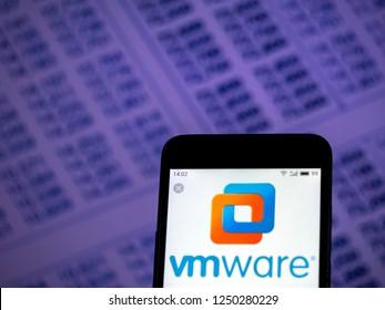 KIEV, UKRAINE - Dec 4, 2018: VMware Computer software company  logo seen displayed on smart phone.