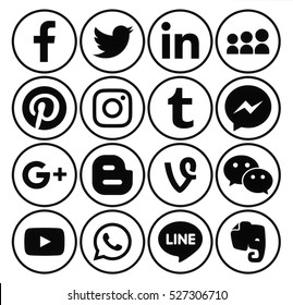 Kiev, Ukraine - December 01, 2016: Collection of popular black round social media icons printed on paper: Facebook, Twitter, Google Plus, Instagram, Pinterest, LinkedIn, Blogger, Tumblr and others