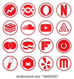 KIEV, UKRAINE - december 02, 2017: Collection of popular social media logos printed on paper: redis, sentry, soundcloud, toggl, yelp, youtube and other
