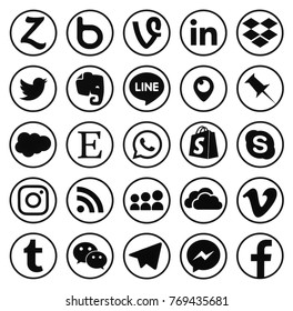 KIEV, UKRAINE - december 02, 2017: Collection of popular social media logos printed on paper: Facebook, Twitter, LinkedIn, Instagram, Skype, WhatsApp, Line and other