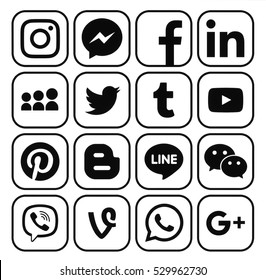 Kiev, Ukraine - December 05, 2016: Collection of popular black social media icons printed on white paper: Facebook, Twitter, Google Plus, Instagram, Pinterest, LinkedIn, Blogger, Tumblr and others