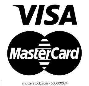 Kiev, Ukraine - December 05, 2016: Set of popular payment system logos: Mastercard and Visa printed on paper.