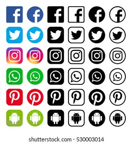 Kiev, Ukraine - December 05, 2016: Set of most popular social media black logos: Facebook, Twitter, Pinterest, Instagram, WhatsApp, Android printed on paper.