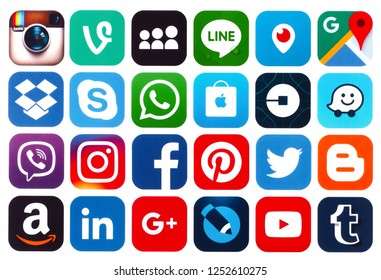 Kiev, Ukraine - December 07, 2018: Set of popular social media icons: Viber, Pinterest, Twitter, YouTube, WhatsApp, Snapchat, Facebook, Skype, Instagram, Flickr and others printed on white paper