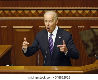KIEV, UKRAINE - December 08, 2015: US Vice President Joe Biden addresses Ukrainian lawmakers as he delivers a speech at the Ukrainian Parliament.