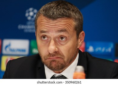 KIEV, UKRAINE - December 09, 2015: The head coach of Maccabi Tel-Aviv Slavisa Jokanovic after the UEFA Champions League game with Dynamo Kiev at NSC Olimpiyskiy stadium