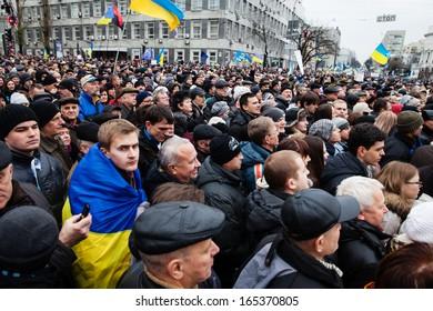 KIEV, UKRAINE - DECEMBER 1: Pro-Europe protest in Kiev on december 1, 2013, Kiev, Ukraine