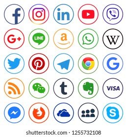 KIEV, UKRAINE -December 10  2018: This is a photo collection of popular social media logos printed on paper: Facebook, Twitter, LinkedIn, Instagram, Tango, WhatsApp, Youtube, Line and other
