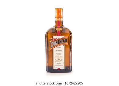 Kiev, Ukraine - December, 11, 2020. Bottle of Cointreau liqueur 1 liter, 40% vol.