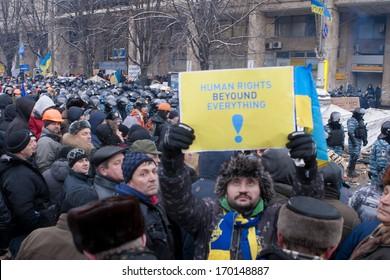 KIEV, UKRAINE - DECEMBER 11: People protest at Maidan Nezalezhnosti Square (EuroMaidan) after Ukraine suspended talks with the EU on association, December 11, 2013, Kiev