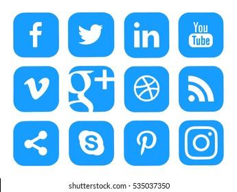 Kiev, Ukraine - December 12, 2016: Collection of popular social media logos printed on paper: Facebook, Twitter, Instagram, LinkedIn, YouTube and others.