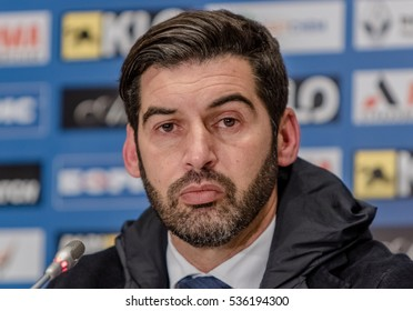 KIEV, UKRAINE: December 12, 2016: Shakhtar coach Paolo Fonseca answering journalists' questions after the match Ukrainian Premier League match between Dynamo and Shakhtar at NSC Olimpiyskiy Stadium
