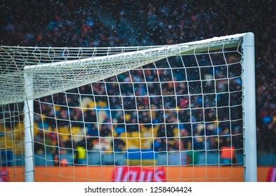 KIEV, UKRAINE - December 12, 2018: Football goal on snow background close up during the UEFA Champions League match, Ukraine
