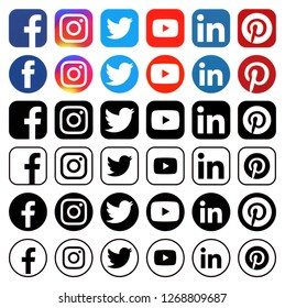 KIEV, UKRAINE -December 13, 2018: This is a photo collection of popular social media logos printed on paper: Facebook, Twitter, LinkedIn, Instagram,  Youtube and other